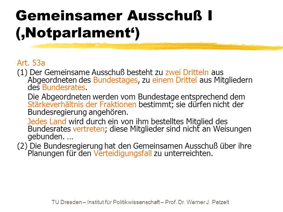 TU Dresden – Institut für Politikwissenschaft – Prof. Dr. Werner J. Patzelt Gemeinsamer Ausschuß I ('Notparlament') Art. 53a (1) Der Gemeinsame Aussch