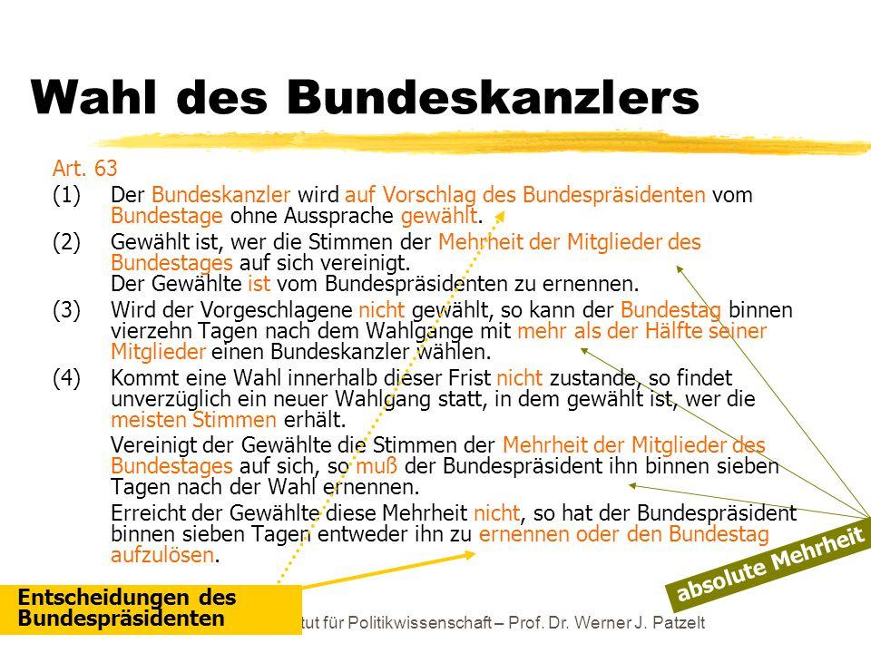 TU Dresden – Institut für Politikwissenschaft – Prof. Dr. Werner J. Patzelt Wahl des Bundeskanzlers Art. 63 (1)Der Bundeskanzler wird auf Vorschlag de