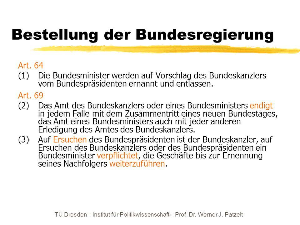Bestellung der Bundesregierung Art. 64 (1) Die Bundesminister werden auf Vorschlag des Bundeskanzlers vom Bundespräsidenten ernannt und entlassen. Art