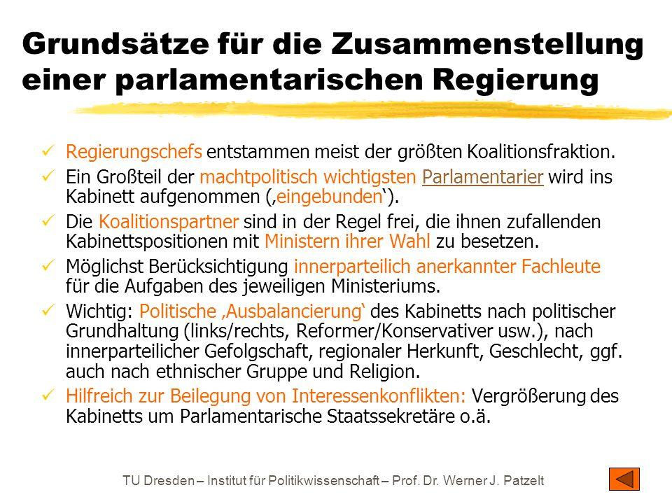 TU Dresden – Institut für Politikwissenschaft – Prof. Dr. Werner J. Patzelt Grundsätze für die Zusammenstellung einer parlamentarischen Regierung Regi