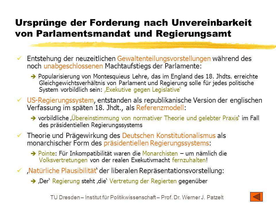 TU Dresden – Institut für Politikwissenschaft – Prof. Dr. Werner J. Patzelt Ursprünge der Forderung nach Unvereinbarkeit von Parlamentsmandat und Regi