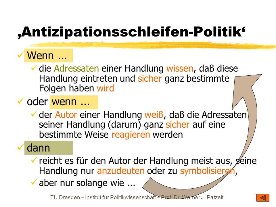 TU Dresden – Institut für Politikwissenschaft – Prof. Dr. Werner J. Patzelt 'Antizipationsschleifen-Politik' Wenn... die Adressaten einer Handlung wis