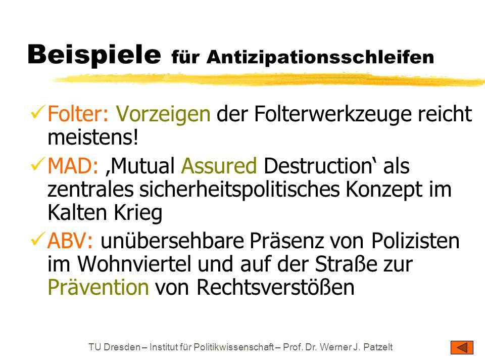 TU Dresden – Institut für Politikwissenschaft – Prof. Dr. Werner J. Patzelt Beispiele für Antizipationsschleifen Folter: Vorzeigen der Folterwerkzeuge