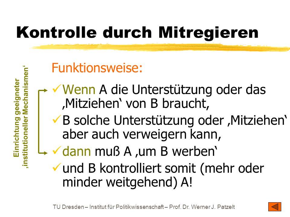 TU Dresden – Institut für Politikwissenschaft – Prof. Dr. Werner J. Patzelt Kontrolle durch Mitregieren Funktionsweise: Wenn A die Unterstützung oder