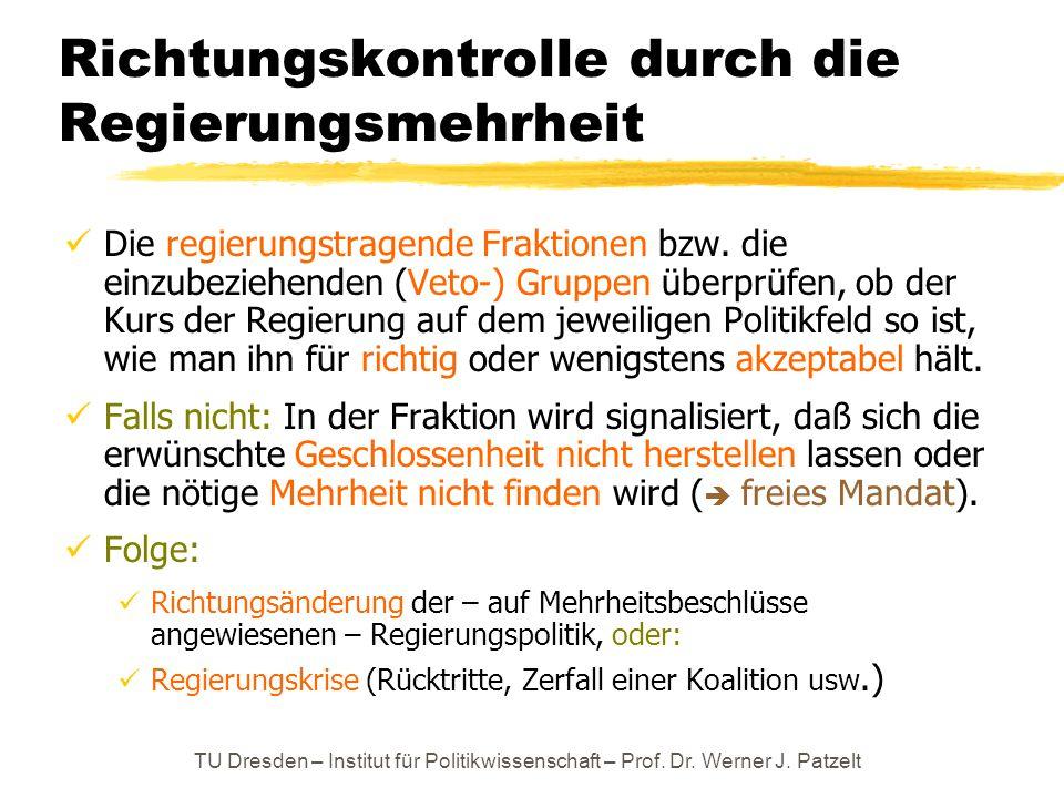TU Dresden – Institut für Politikwissenschaft – Prof. Dr. Werner J. Patzelt Richtungskontrolle durch die Regierungsmehrheit Die regierungstragende Fra