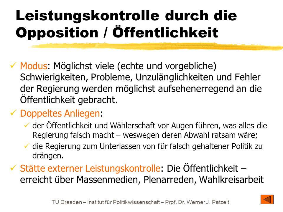 TU Dresden – Institut für Politikwissenschaft – Prof. Dr. Werner J. Patzelt Leistungskontrolle durch die Opposition / Öffentlichkeit Modus: Möglichst