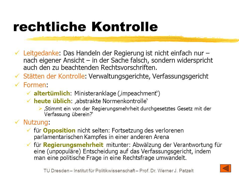 TU Dresden – Institut für Politikwissenschaft – Prof. Dr. Werner J. Patzelt rechtliche Kontrolle Leitgedanke: Das Handeln der Regierung ist nicht einf