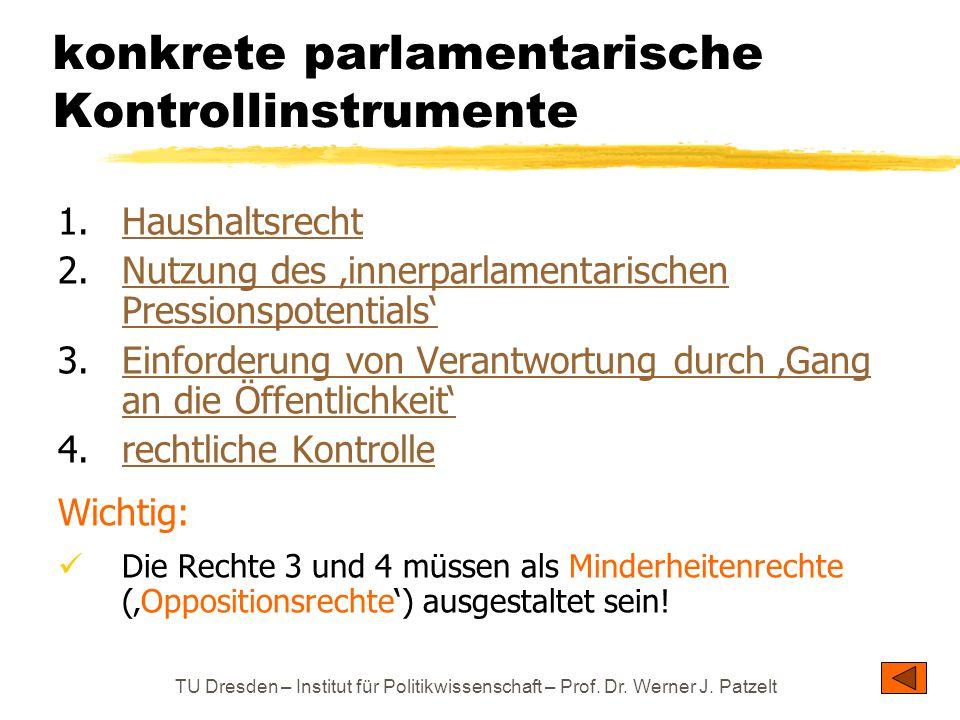 TU Dresden – Institut für Politikwissenschaft – Prof. Dr. Werner J. Patzelt konkrete parlamentarische Kontrollinstrumente 1.HaushaltsrechtHaushaltsrec