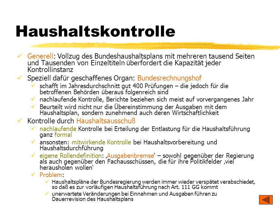 TU Dresden – Institut für Politikwissenschaft – Prof. Dr. Werner J. Patzelt Haushaltskontrolle Generell: Vollzug des Bundeshaushaltsplans mit mehreren