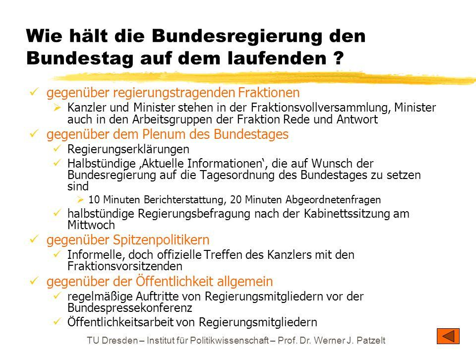 TU Dresden – Institut für Politikwissenschaft – Prof. Dr. Werner J. Patzelt Wie hält die Bundesregierung den Bundestag auf dem laufenden ? gegenüber r