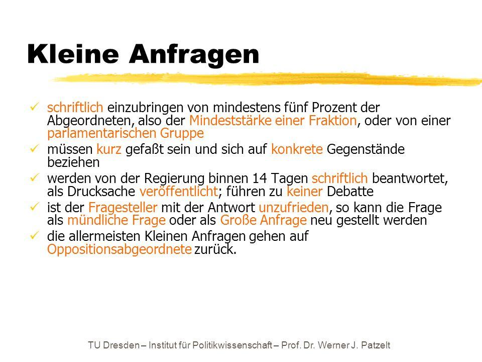 TU Dresden – Institut für Politikwissenschaft – Prof. Dr. Werner J. Patzelt Kleine Anfragen schriftlich einzubringen von mindestens fünf Prozent der A