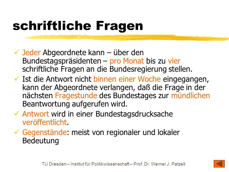 TU Dresden – Institut für Politikwissenschaft – Prof. Dr. Werner J. Patzelt schriftliche Fragen Jeder Abgeordnete kann – über den Bundestagspräsidente