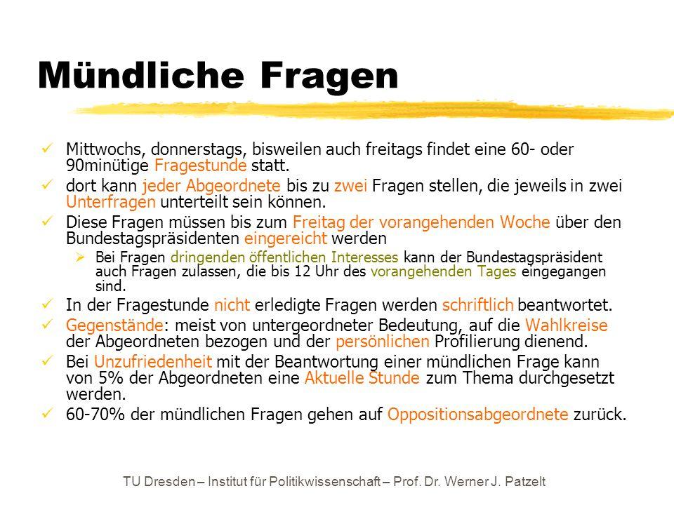 TU Dresden – Institut für Politikwissenschaft – Prof. Dr. Werner J. Patzelt Mündliche Fragen Mittwochs, donnerstags, bisweilen auch freitags findet ei