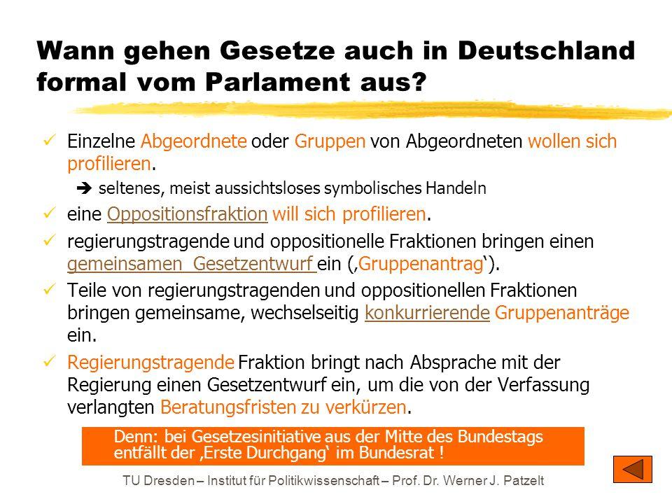 TU Dresden – Institut für Politikwissenschaft – Prof. Dr. Werner J. Patzelt Wann gehen Gesetze auch in Deutschland formal vom Parlament aus? Einzelne