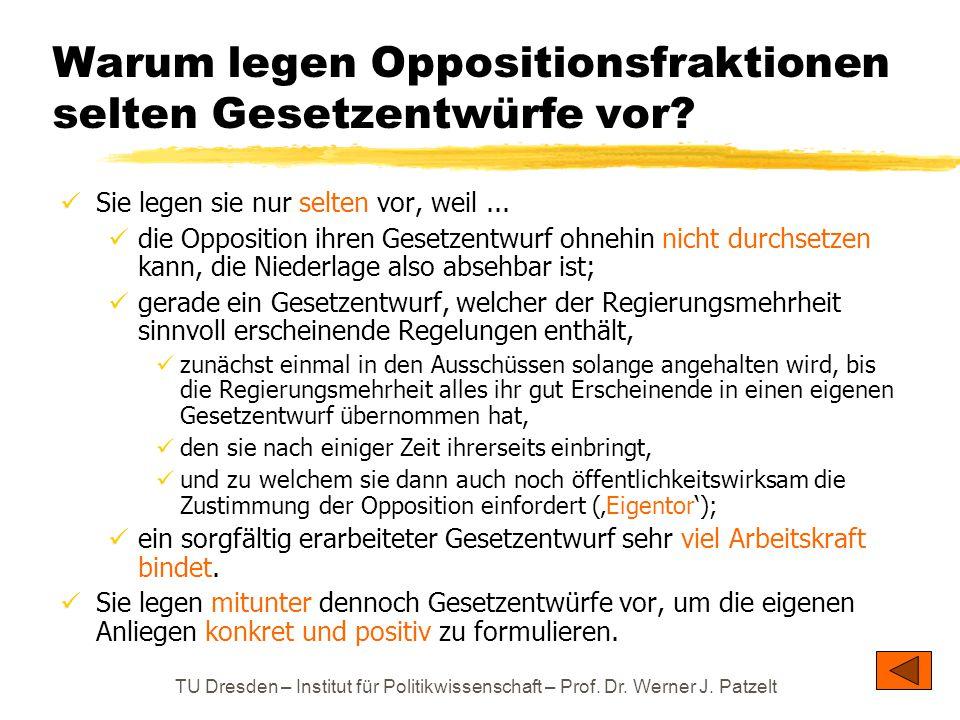 TU Dresden – Institut für Politikwissenschaft – Prof. Dr. Werner J. Patzelt Warum legen Oppositionsfraktionen selten Gesetzentwürfe vor? Sie legen sie