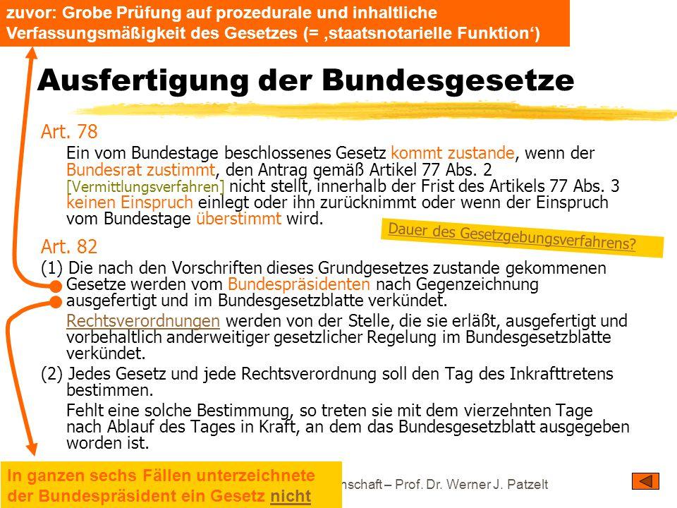 TU Dresden – Institut für Politikwissenschaft – Prof. Dr. Werner J. Patzelt Ausfertigung der Bundesgesetze Art. 78 Ein vom Bundestage beschlossenes Ge