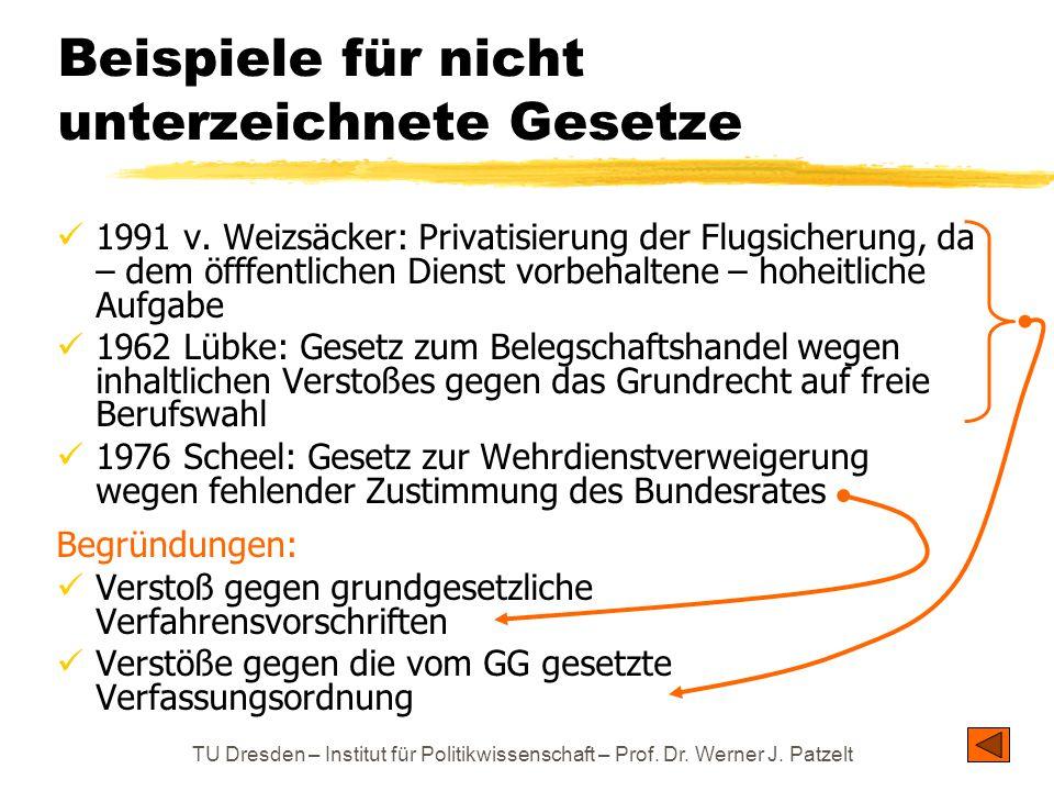 1991 v. Weizsäcker: Privatisierung der Flugsicherung, da – dem öfffentlichen Dienst vorbehaltene – hoheitliche Aufgabe 1962 Lübke: Gesetz zum Belegsch