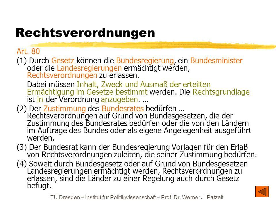 TU Dresden – Institut für Politikwissenschaft – Prof. Dr. Werner J. Patzelt Rechtsverordnungen Art. 80 (1) Durch Gesetz können die Bundesregierung, ei