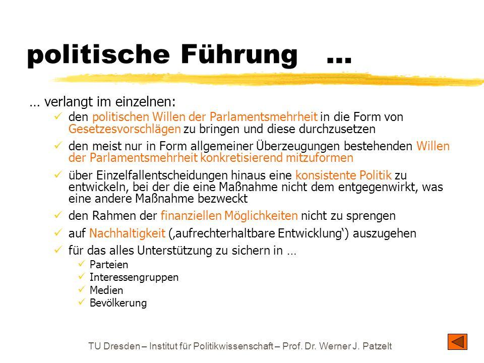 TU Dresden – Institut für Politikwissenschaft – Prof. Dr. Werner J. Patzelt politische Führung … … verlangt im einzelnen: den politischen Willen der P