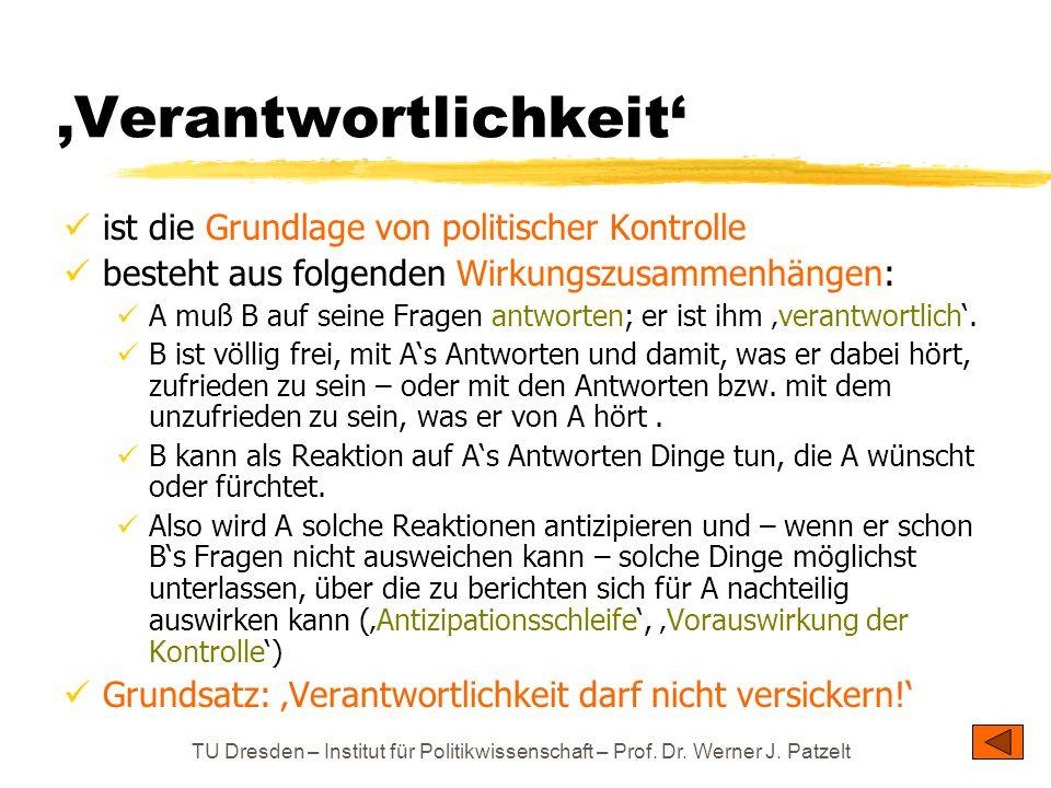 TU Dresden – Institut für Politikwissenschaft – Prof. Dr. Werner J. Patzelt 'Verantwortlichkeit' ist die Grundlage von politischer Kontrolle besteht a