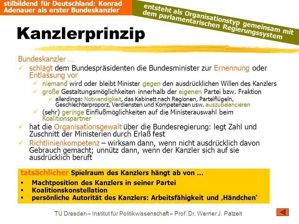 TU Dresden – Institut für Politikwissenschaft – Prof. Dr. Werner J. Patzelt Kanzlerprinzip Bundeskanzler … schlägt dem Bundespräsidenten die Bundesmin