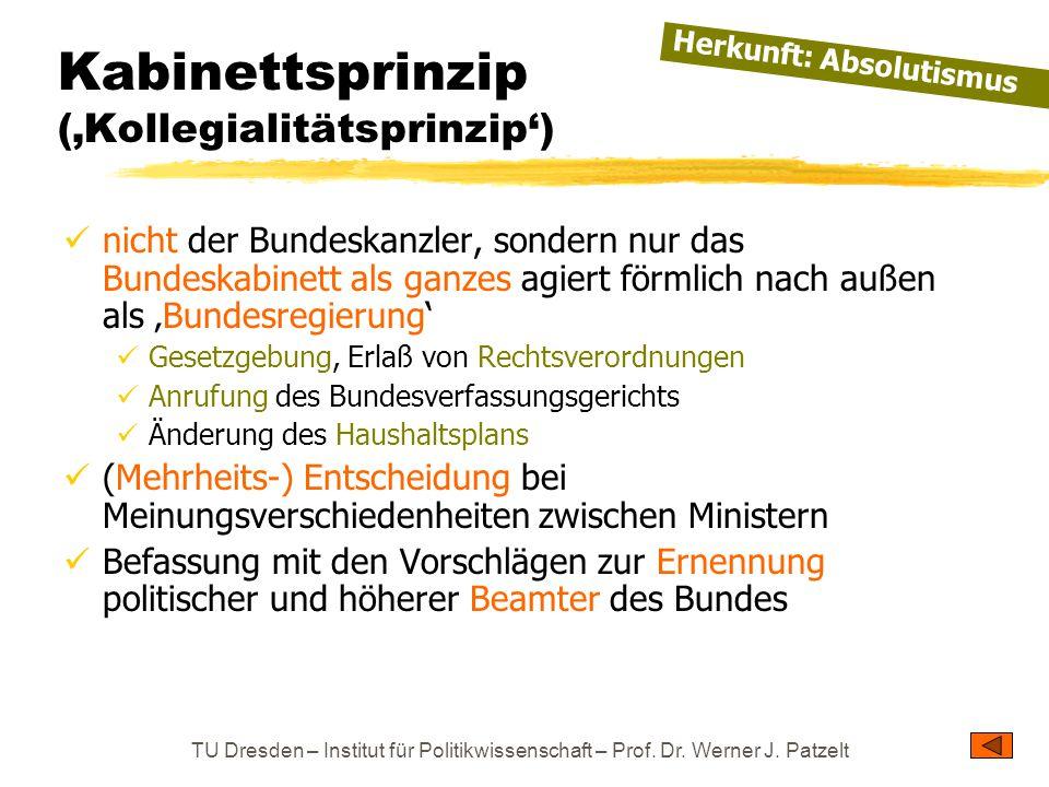 TU Dresden – Institut für Politikwissenschaft – Prof. Dr. Werner J. Patzelt Kabinettsprinzip ('Kollegialitätsprinzip') nicht der Bundeskanzler, sonder