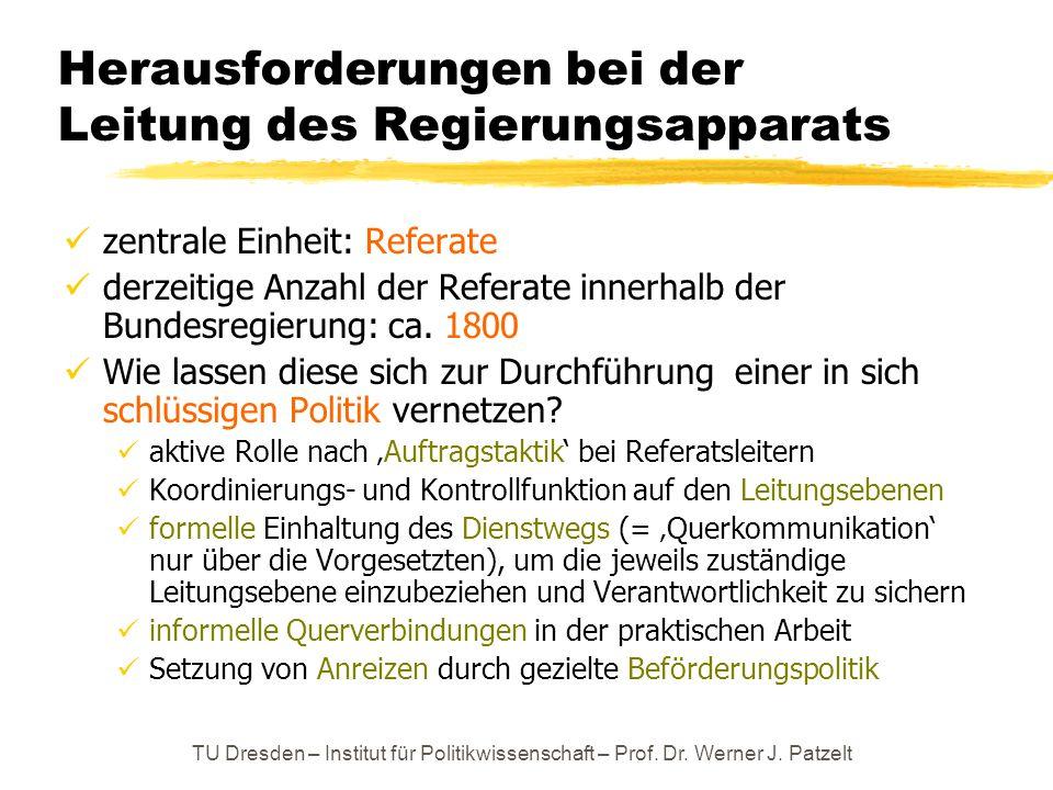 TU Dresden – Institut für Politikwissenschaft – Prof. Dr. Werner J. Patzelt Herausforderungen bei der Leitung des Regierungsapparats zentrale Einheit: