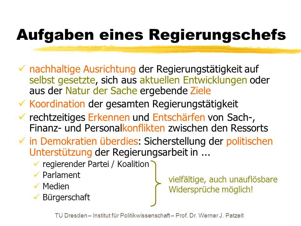 TU Dresden – Institut für Politikwissenschaft – Prof. Dr. Werner J. Patzelt Aufgaben eines Regierungschefs nachhaltige Ausrichtung der Regierungstätig