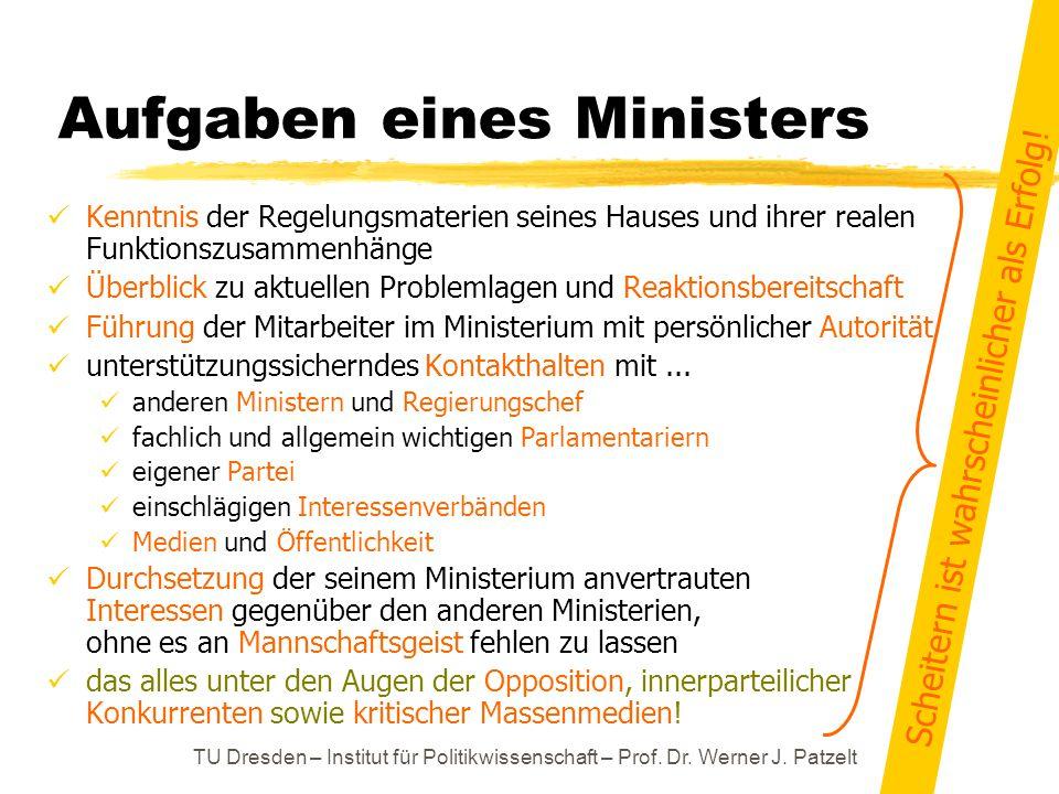 TU Dresden – Institut für Politikwissenschaft – Prof. Dr. Werner J. Patzelt Aufgaben eines Ministers Kenntnis der Regelungsmaterien seines Hauses und