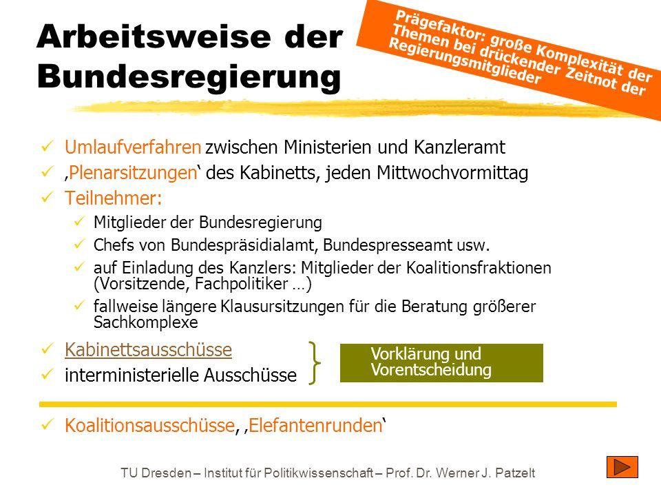TU Dresden – Institut für Politikwissenschaft – Prof. Dr. Werner J. Patzelt Umlaufverfahren zwischen Ministerien und Kanzleramt 'Plenarsitzungen' des