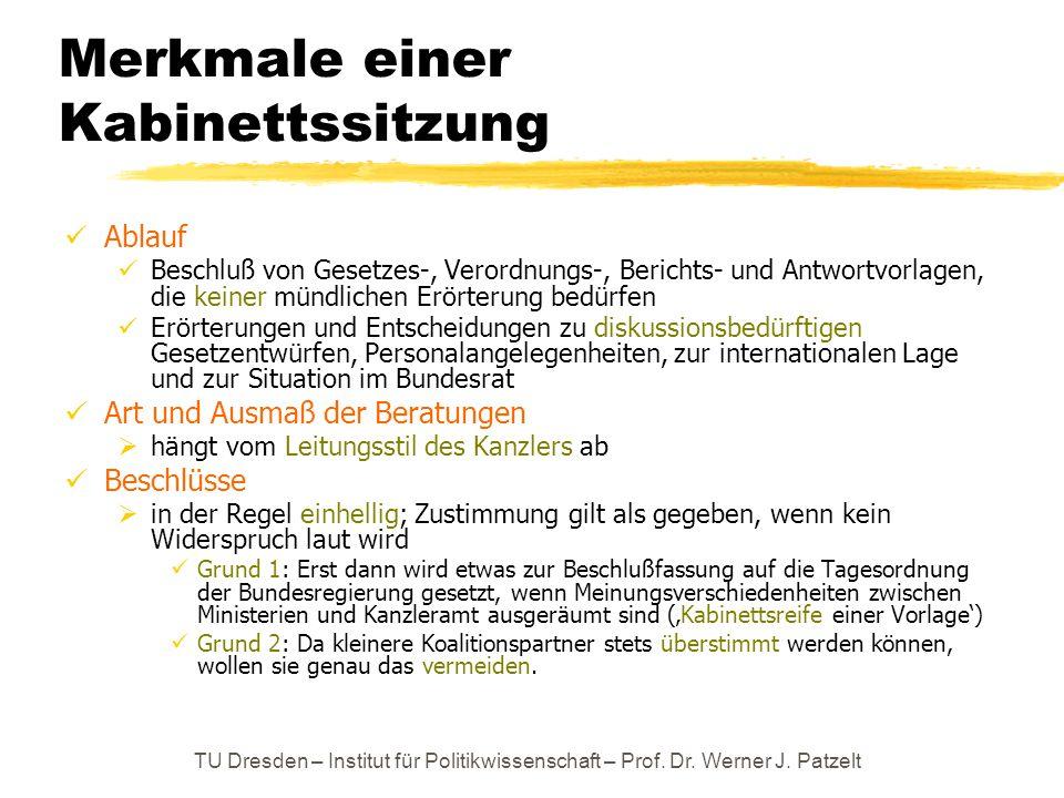TU Dresden – Institut für Politikwissenschaft – Prof. Dr. Werner J. Patzelt Merkmale einer Kabinettssitzung Ablauf Beschluß von Gesetzes-, Verordnungs