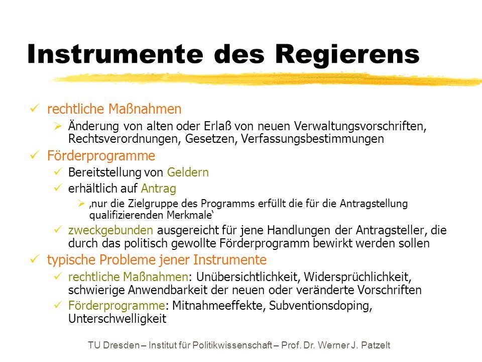TU Dresden – Institut für Politikwissenschaft – Prof. Dr. Werner J. Patzelt Instrumente des Regierens rechtliche Maßnahmen  Änderung von alten oder E