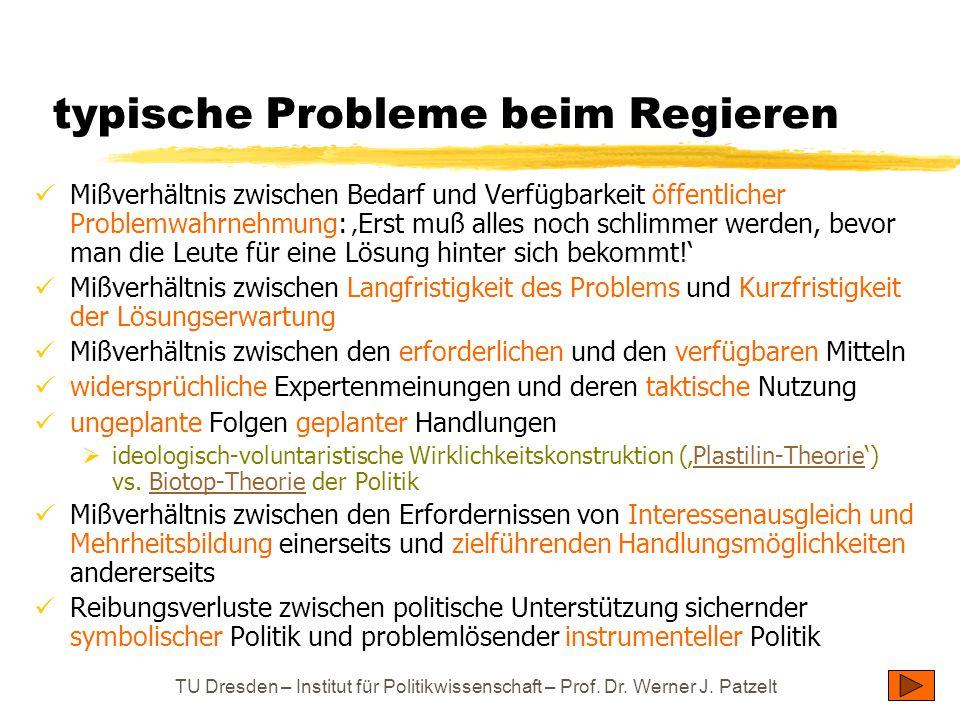 TU Dresden – Institut für Politikwissenschaft – Prof. Dr. Werner J. Patzelt typische Probleme beim Regieren Mißverhältnis zwischen Bedarf und Verfügba