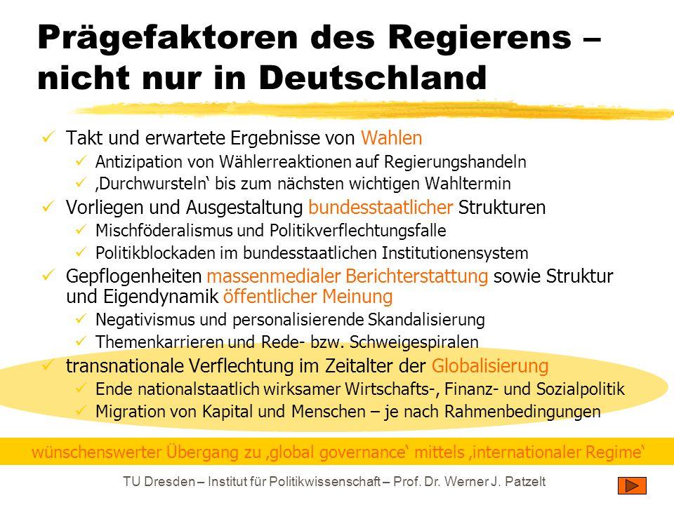 TU Dresden – Institut für Politikwissenschaft – Prof. Dr. Werner J. Patzelt Prägefaktoren des Regierens – nicht nur in Deutschland Takt und erwartete