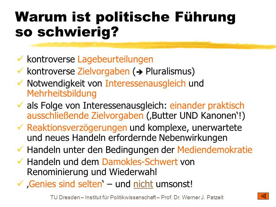 TU Dresden – Institut für Politikwissenschaft – Prof. Dr. Werner J. Patzelt Warum ist politische Führung so schwierig? kontroverse Lagebeurteilungen k