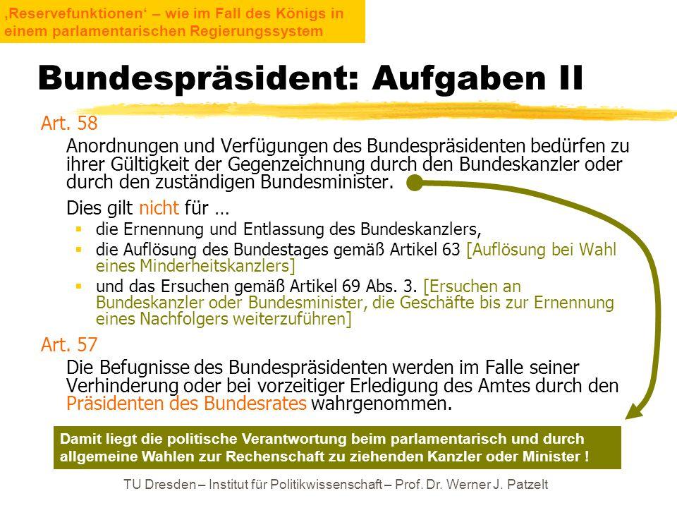 TU Dresden – Institut für Politikwissenschaft – Prof. Dr. Werner J. Patzelt Bundespräsident: Aufgaben II Art. 58 Anordnungen und Verfügungen des Bunde