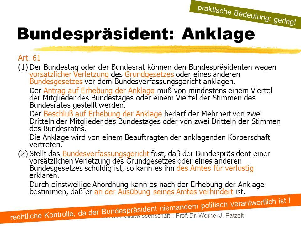 TU Dresden – Institut für Politikwissenschaft – Prof. Dr. Werner J. Patzelt Bundespräsident: Anklage Art. 61 (1)Der Bundestag oder der Bundesrat könne