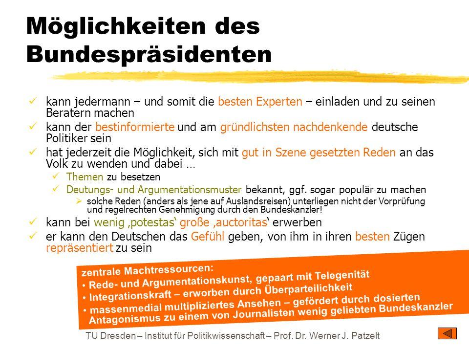 TU Dresden – Institut für Politikwissenschaft – Prof. Dr. Werner J. Patzelt Möglichkeiten des Bundespräsidenten kann jedermann – und somit die besten