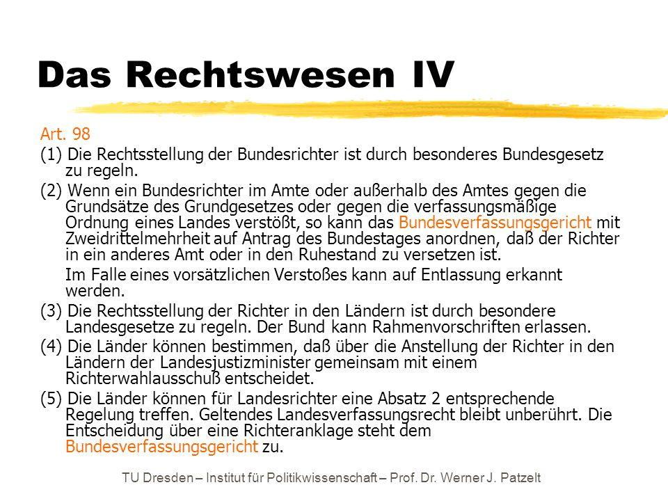 TU Dresden – Institut für Politikwissenschaft – Prof. Dr. Werner J. Patzelt Das Rechtswesen IV Art. 98 (1) Die Rechtsstellung der Bundesrichter ist du