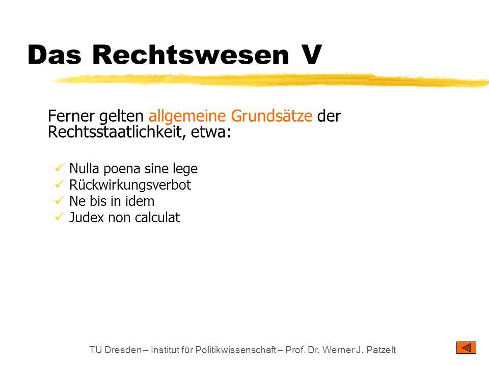 TU Dresden – Institut für Politikwissenschaft – Prof. Dr. Werner J. Patzelt Das Rechtswesen V Ferner gelten allgemeine Grundsätze der Rechtsstaatlichk