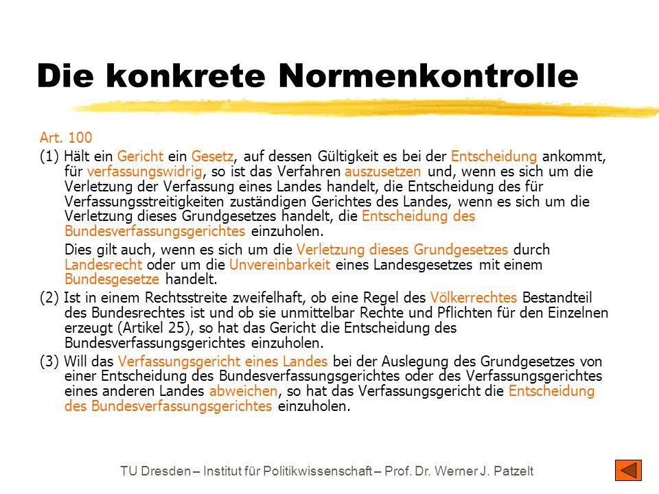 TU Dresden – Institut für Politikwissenschaft – Prof. Dr. Werner J. Patzelt Die konkrete Normenkontrolle Art. 100 (1) Hält ein Gericht ein Gesetz, auf