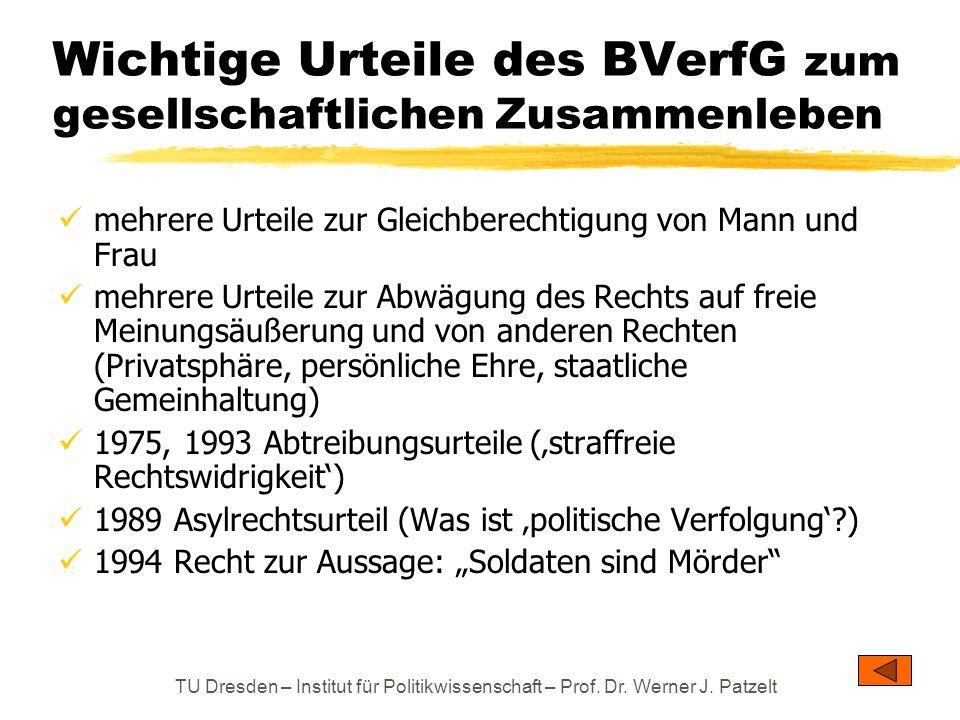 TU Dresden – Institut für Politikwissenschaft – Prof. Dr. Werner J. Patzelt Wichtige Urteile des BVerfG zum gesellschaftlichen Zusammenleben mehrere U
