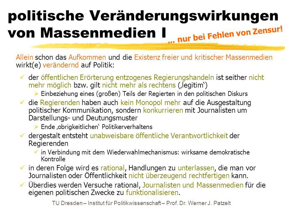 TU Dresden – Institut für Politikwissenschaft – Prof. Dr. Werner J. Patzelt politische Veränderungswirkungen von Massenmedien I Allein schon das Aufko