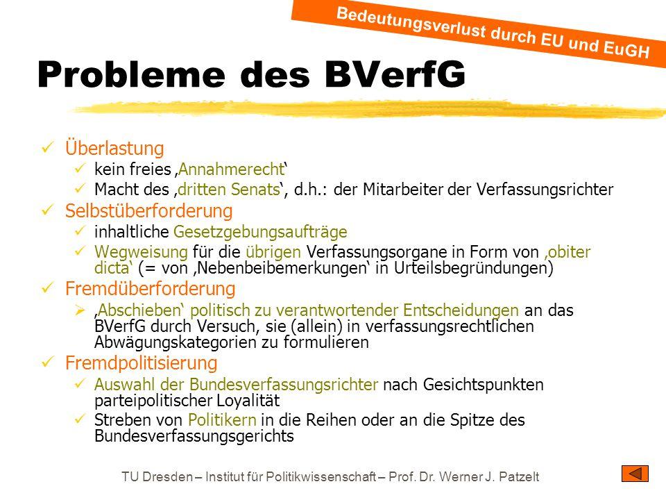 TU Dresden – Institut für Politikwissenschaft – Prof. Dr. Werner J. Patzelt Probleme des BVerfG Überlastung kein freies 'Annahmerecht' Macht des 'drit