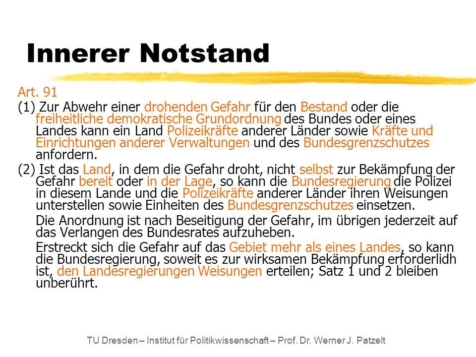 TU Dresden – Institut für Politikwissenschaft – Prof. Dr. Werner J. Patzelt Innerer Notstand Art. 91 (1) Zur Abwehr einer drohenden Gefahr für den Bes