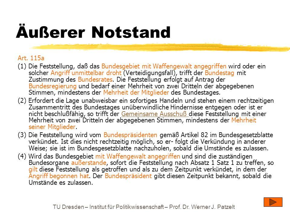 TU Dresden – Institut für Politikwissenschaft – Prof. Dr. Werner J. Patzelt Äußerer Notstand Art. 115a (1) Die Feststellung, daß das Bundesgebiet mit