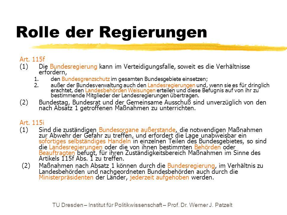 TU Dresden – Institut für Politikwissenschaft – Prof. Dr. Werner J. Patzelt Rolle der Regierungen Art. 115f (1) Die Bundesregierung kann im Verteidigu