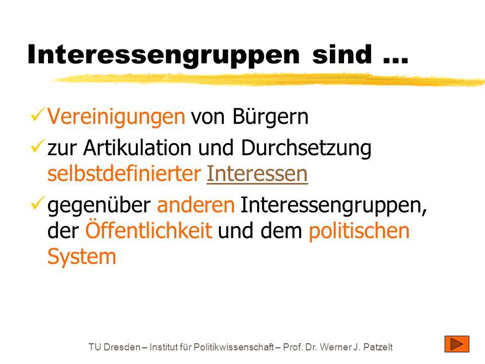 TU Dresden – Institut für Politikwissenschaft – Prof. Dr. Werner J. Patzelt Interessengruppen sind... Vereinigungen von Bürgern zur Artikulation und D