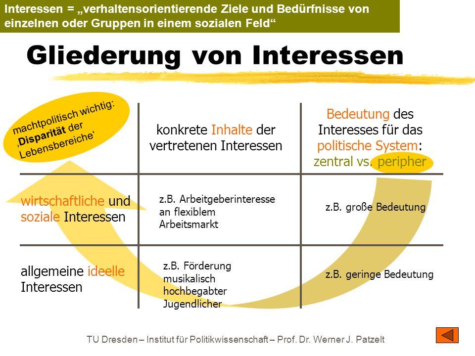 TU Dresden – Institut für Politikwissenschaft – Prof. Dr. Werner J. Patzelt Gliederung von Interessen wirtschaftliche und soziale Interessen allgemein