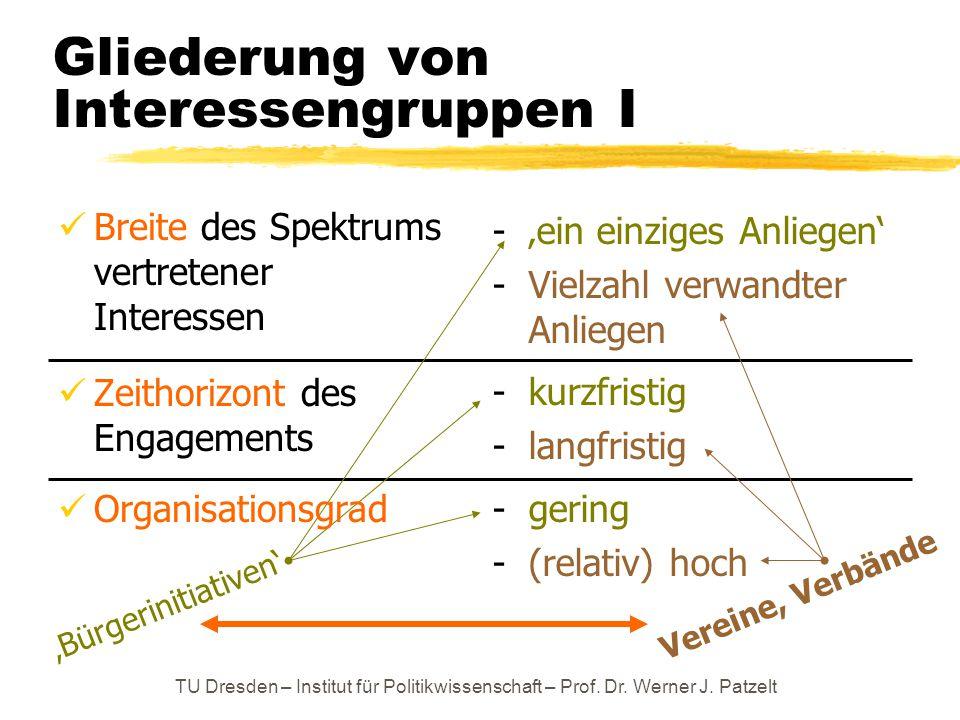 TU Dresden – Institut für Politikwissenschaft – Prof. Dr. Werner J. Patzelt - 'ein einziges Anliegen' - Vielzahl verwandter Anliegen - kurzfristig - l
